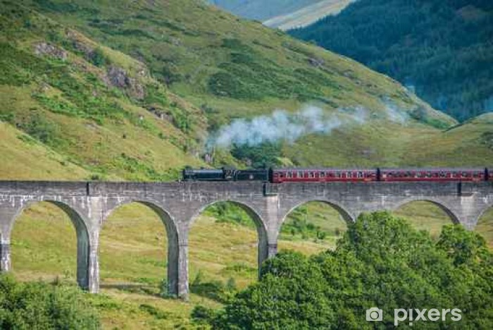 Papier peint vinyle Le train de Jacobite sur le viaduc de Glenfinnan - Transporter