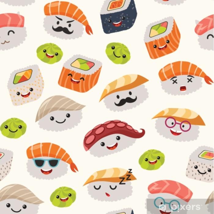 Mural De Parede Sushi Emoji Sem Costura Padrao Estilo Cartoon
