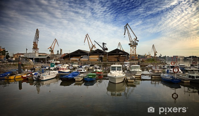 Vinyl-Fototapete Astillero05 - Fabrikgebäude und Betriebsgebäude