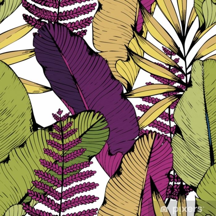 Naklejka Pixerstick Wektor wzór z tropikalnych gałęzi i liści. rysunek odręczny. tło dekoracyjne - Rośliny i kwiaty