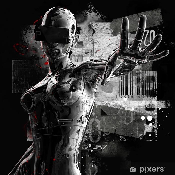 Vinyl Fotobehang Het hoofd van een cyborg op een zwarte achtergrond. 3D illustratie. - Grafische Bronnen