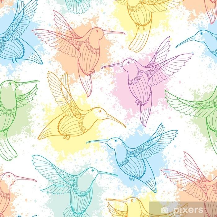 Plakát Vektor bezešvé vzor s létající kolibřík nebo colibri v obrysovém stylu a bloty v pastelové barvě na bílém pozadí. elegance pozadí s exotickým tropickým ptákem pro letní design. - Grafika