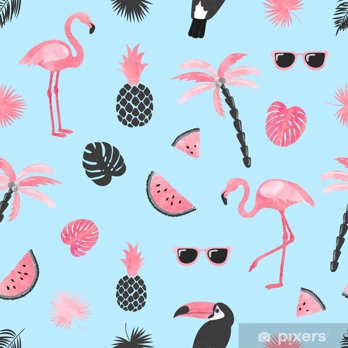 Papier peint vinyle Motif tendance tropical avec flamant aquarelle, tranches de melon d'eau et feuilles de palmier. fond d'été vectorielle continue. - Plantes et fleurs