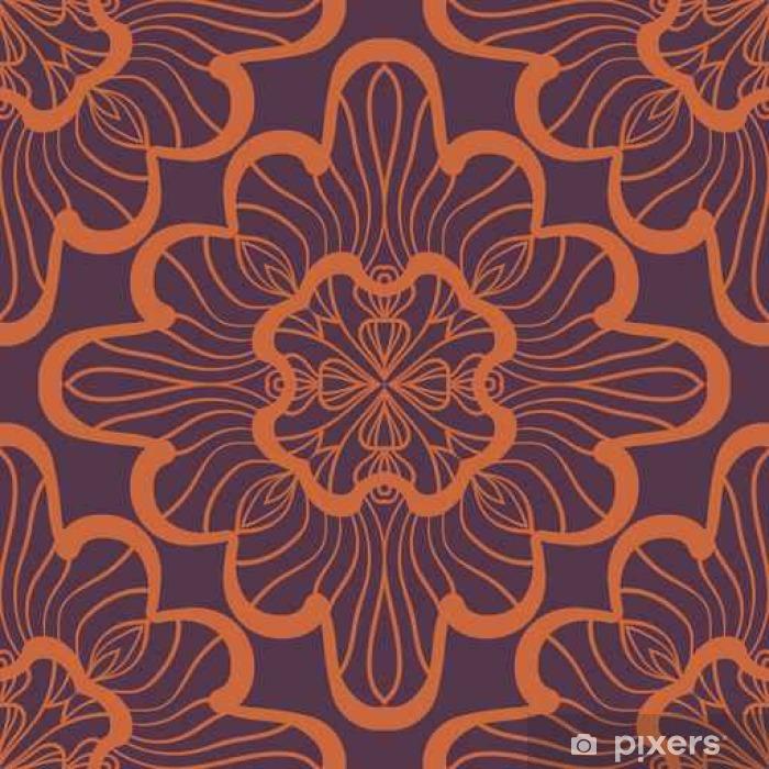 Fototapet av Vinyl Seamless geometriska mönster med bruna ornamentala rutor. Vektor konstverk - Grafiska Resources