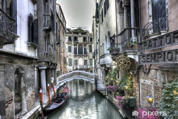 Sticker Pixerstick Gondel, Palazzi und Brücke, Venedig, Italien -