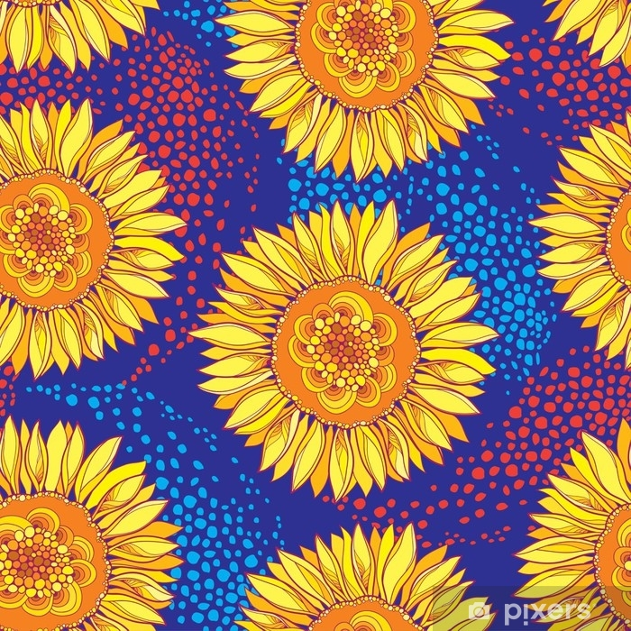 Vector Seamless Pattern With Outline Open Sunflower Or Helianthus