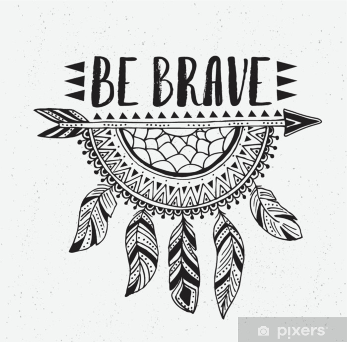boho template with inspirational quote lettering be brave vector