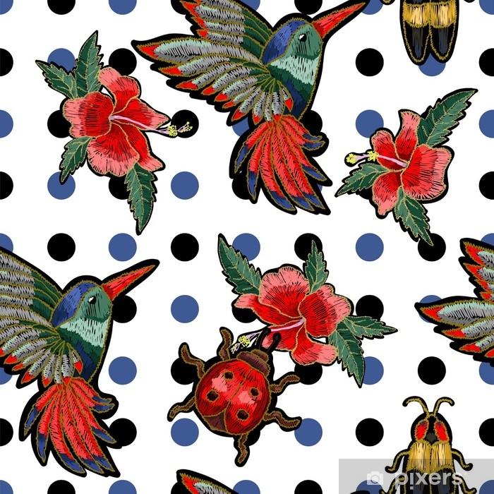 Fototapete Stickerei Kolibri Und Hibiskusblüten Vektorillustration