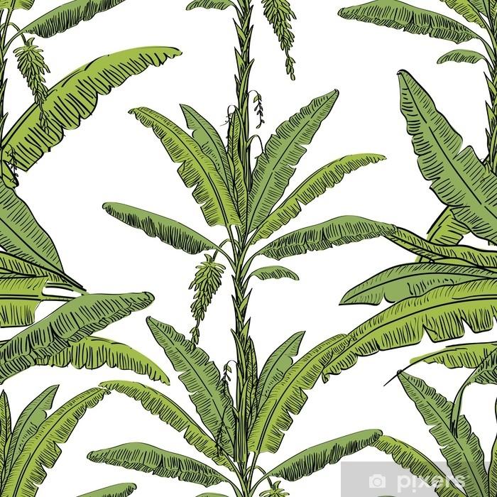 Vinilo Pixerstick Vector Dibujado árbol De Palma De Patrones Sin