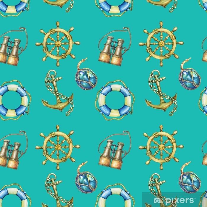 Fototapeta winylowa Vintage wzór z elementami morskie, na białym tle na turkusowym tle. stara lornetka, koło ratunkowe, kierownica z antycznego żaglówka, kotwica statku. akwarela ręcznie rysowane malarstwo ilustracja. - Hobby i rozrywka