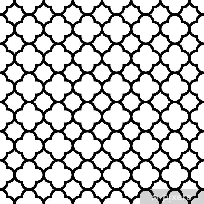 Quatrefoil sømløs mønster baggrund i sort og hvid. vintage og retro abstrakt ornamental design. enkel flad vektor illustration. Pixerstick klistermærke - Grafiske Ressourcer