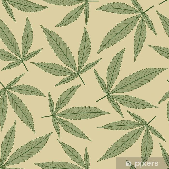 marijuana leaves in pattern Vinyl Wall Mural - Plants