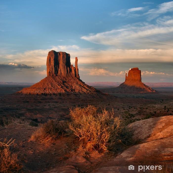 Pixerstick Sticker Westen en het oosten wanten bij zonsondergang, monument valley - Thema's