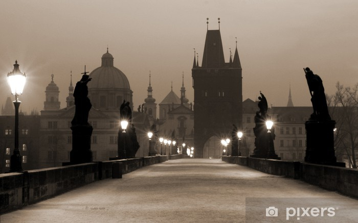 Zelfklevend Fotobehang Charles bridge, (sepia) praag - Praag