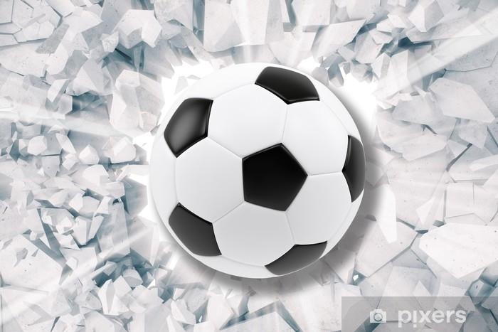 Fototapet av Vinyl Sport illustration med fotboll som kommer i knäckt vägg.  sprickad betongjord abstrakt 58f622b3d66e5