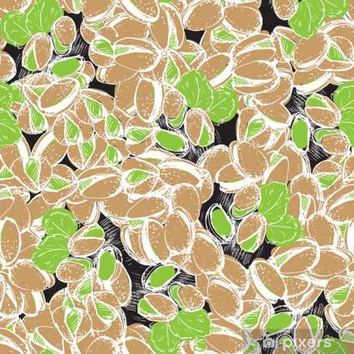 Naklejka Pixerstick Ręka pistacjowa narysować bezszwowe tło. Orzechy pistacjowe na czarnym tablicy kredowej. - Jedzenie