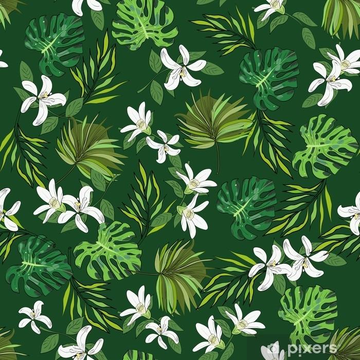 Fototapeta Bezesve Vektorove Vzor Rucne Kreslene Kvetiny A Listy