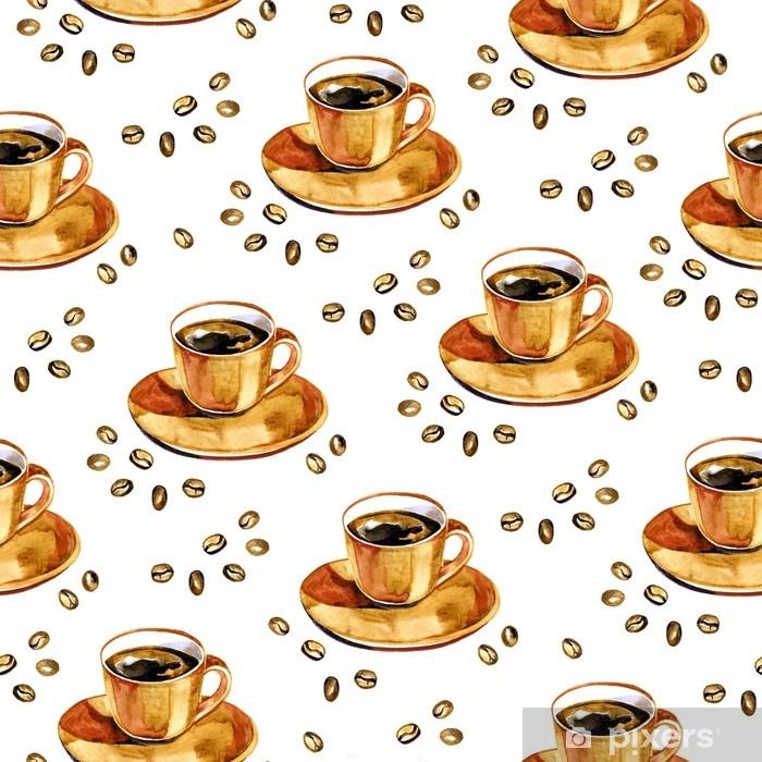 Poster Aquarellkaffee-nahtloses Muster. Hand gezeichnete wiederholende Beschaffenheit mit Cup und Kaffeebohnen auf weißem Hintergrund. - Hobbys und Freizeit