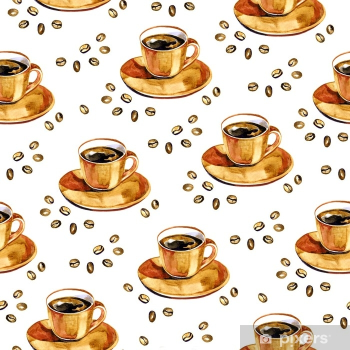 Poster Modèle sans couture de café aquarelle. texture extensible dessinés à la main avec tasse et grains de café sur fond blanc. - Passe-temps et loisirs