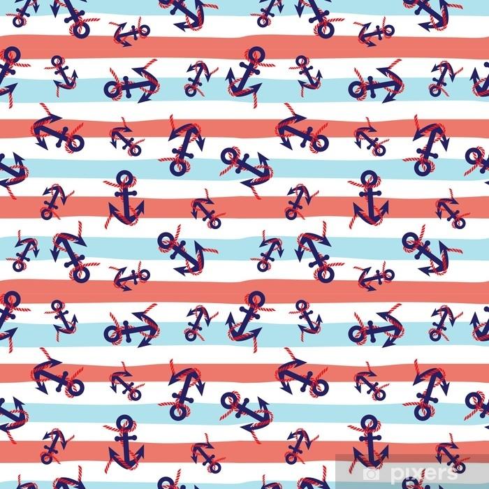 Plakat Szwu z niebieskim kotwice na czerwonym, białym i niebieskim tle morskich paski. ładny i prosty design żeglarski. - Krajobrazy