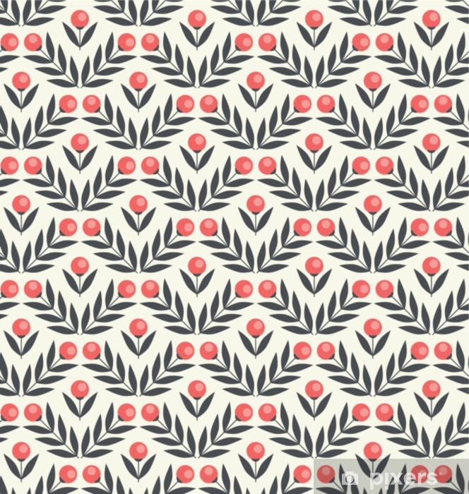 Fototapet av vinyl Sømløs mønster med abstrakte blomster og blader - Planter og Blomster