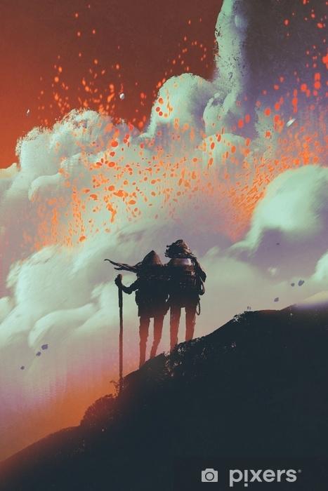 Zelfklevend Fotobehang Silhouetten van wandelaars die zich op berg het letten op rook met lavaexplosie bevinden van vulkaan, digitale kunststijl, illustratie het schilderen - Hobby's en Vrije tijd