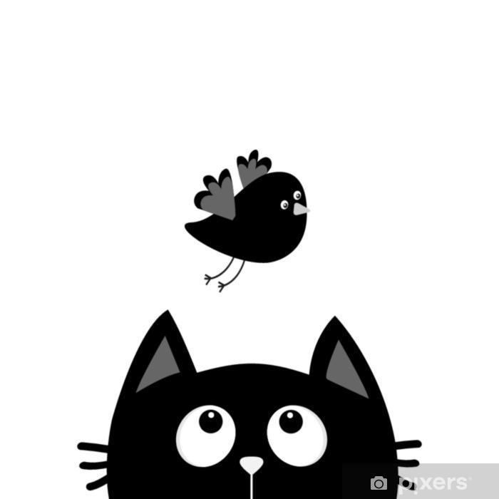 Sticker Silhouette Tête De Chat Noir à La Recherche Doiseau En Vol Personnage De Dessin Animé Mignon Animal Kawaii Carte De Bébé Collection