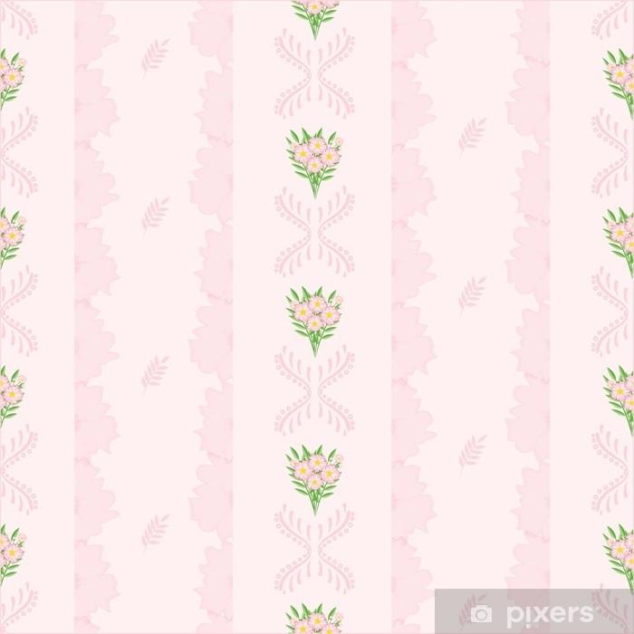 Papier Peint Un Dessin Dans Une Petite Fleur Rose Avec Des Feuilles