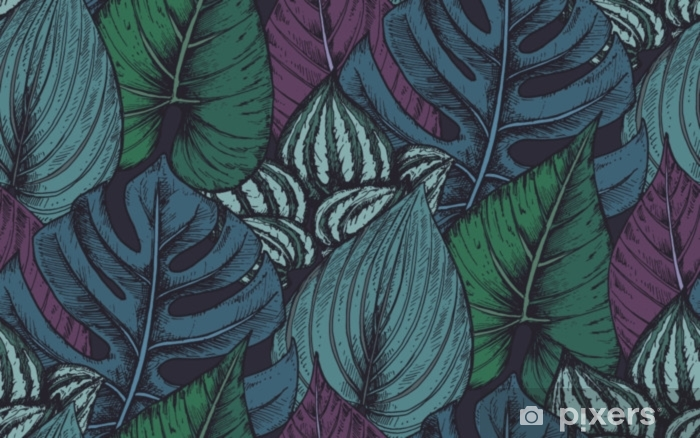 Vector seamless pattern with compositions of hand drawn tropical plants Pixerstick Sticker - Plants and Flowers