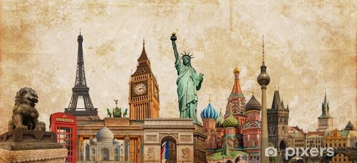 Vinyl Fotobehang Collage van de oriëntatiepuntenfoto van de wereld op uitstekende tes sepia geweven achtergrond, reis, toerisme en studie rond het wereldconcept, uitstekende prentbriefkaar - Reizen