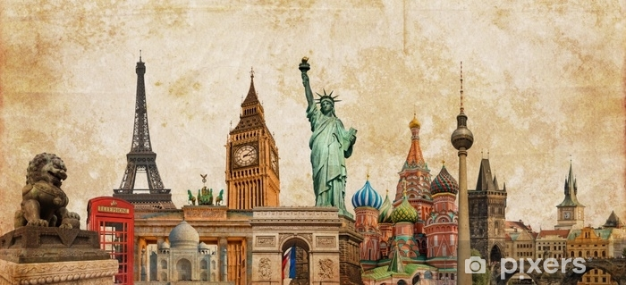 World landmarks photo collage on vintage tes sepia textured background, travel, tourism and study around the world concept, vintage postcard Vinyl Wall Mural - Travel