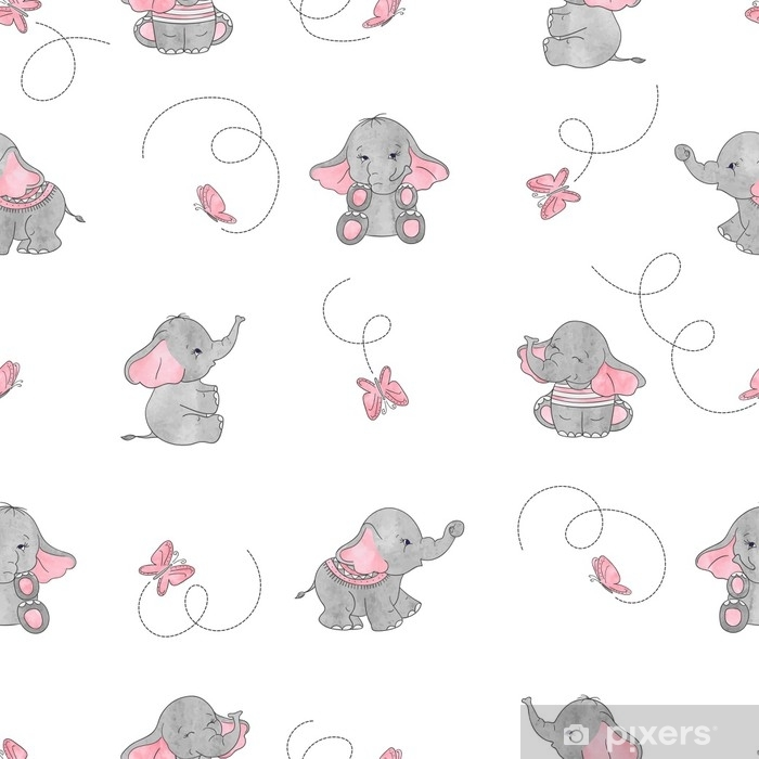 Cute cartoon elephants and butterflies seamless vector pattern. Baby print. Self-Adhesive Wall Mural - Animals