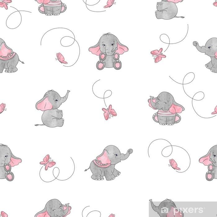 Cute cartoon elephants and butterflies seamless vector pattern. Baby print. Vinyl Wall Mural - Animals