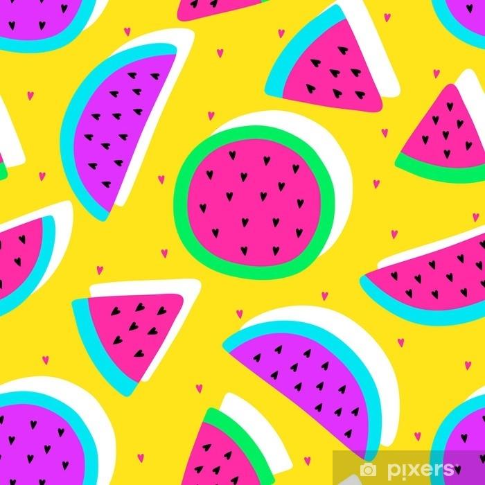 Naklejka Pixerstick Wektor bezszwowe arbuz owoców szalony wzór kolorów. plastry arbuza. bardzo jasny kolorowy kreskówka tło (tapeta, tkanina). dziecinny styl, abstrakcyjne pop-art - Jedzenie