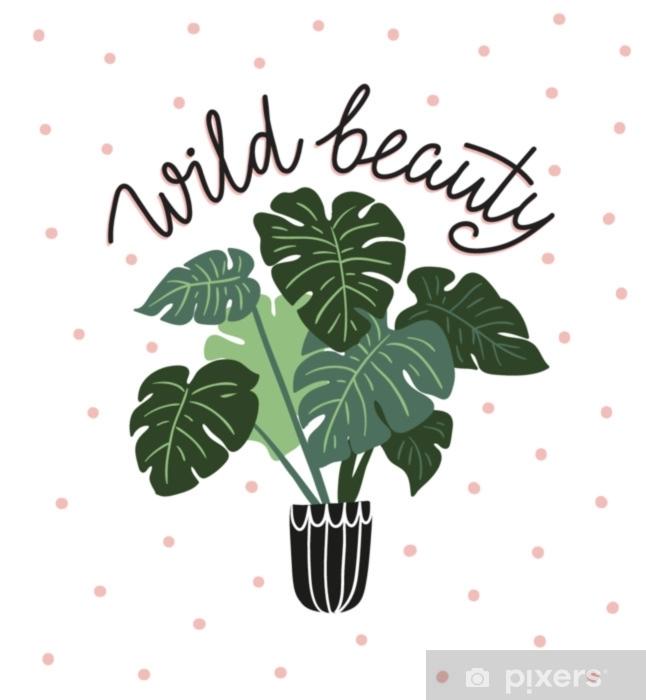 Hand Drawn Tropical House Plants Scandinavian Style Illustration