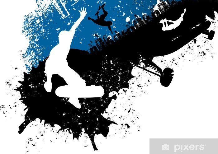 Skateboard freestyle abstract background Pixerstick Sticker - Skateboarding
