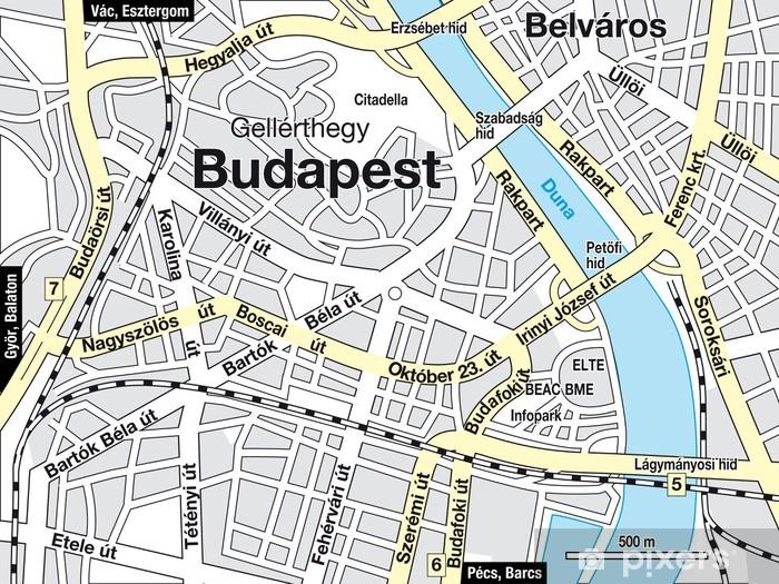 Budapest Stadtplan Pixerstick Sticker - Europe