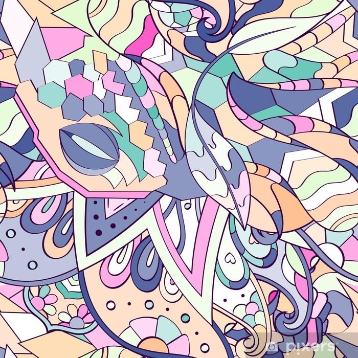 Vinilo para Armario Tracería de patrones sin fisuras. diseño mehndi. étnico colorido doodle textura. Fondo doodling curvado. vector - Recursos gráficos