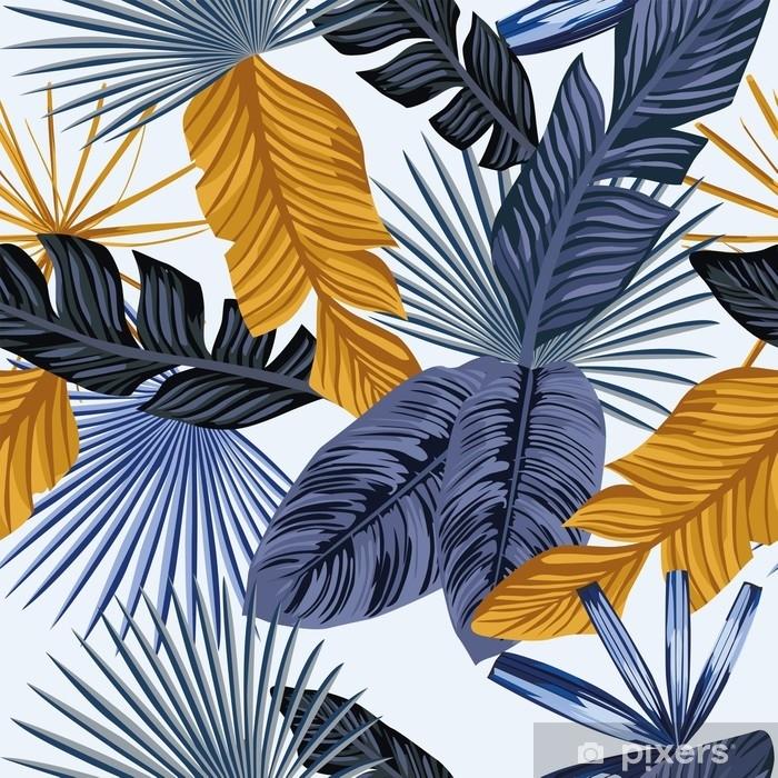 Naklejka Pixerstick Niebieskie złoto palmy pozostawia bez szwu białe tło - Zasoby graficzne