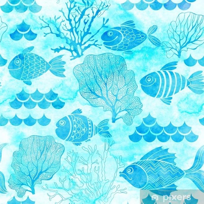 Fototapeta Podvodni Zivot Bezproblemovy Akvarel S Rybami A Morskymi