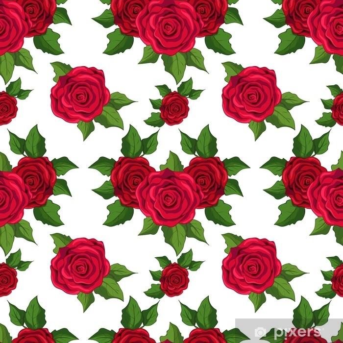 Autocolante Padrão Floral Sem Costura Papel De Parede Com Rosas Vermelhas Sobre Fundo Branco Pixerstick