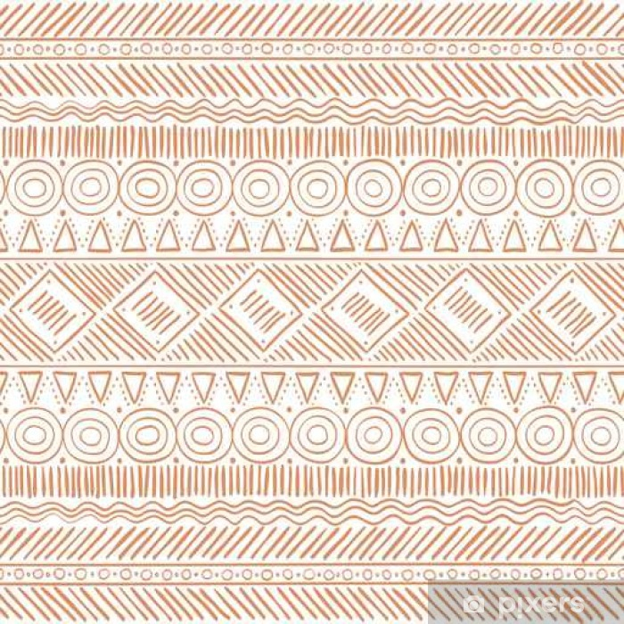 Hand Drawn Tribal Boho Seamless Pattern  Ethnic Geometric Vector Print   Background Texture  Wall Mural - Vinyl