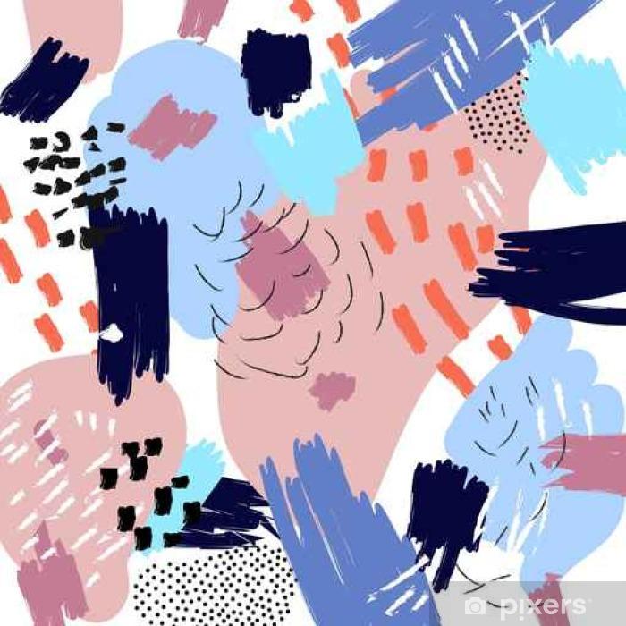 Vinyl Fotobehang Vector abstract artistieke achtergrond. Memphis stijl collage. Freehand penseelstreken. Zomer trendy illustratie - Graphic Resources