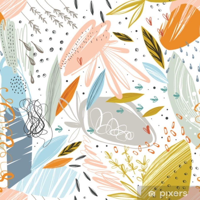 Vector abstract seamless pattern with scribble textures and doodle floral elements. Self-Adhesive Wall Mural - Graphic Resources
