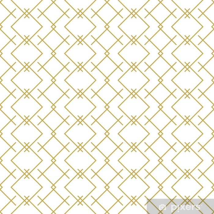 Stylish linear geometric seamless vector pattern in gold Pixerstick Sticker - Graphic Resources
