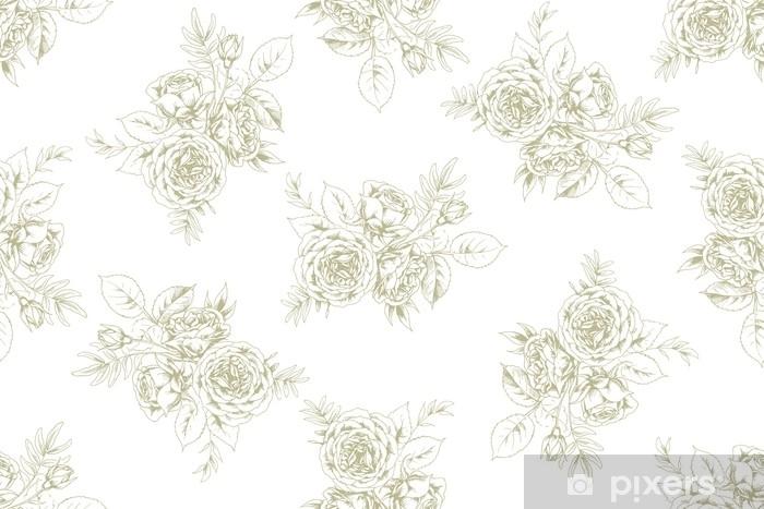 Carta da Parati in Vinile Design di tessuto in stile vintage francese con motivo floreale 1 - Risorse Grafiche