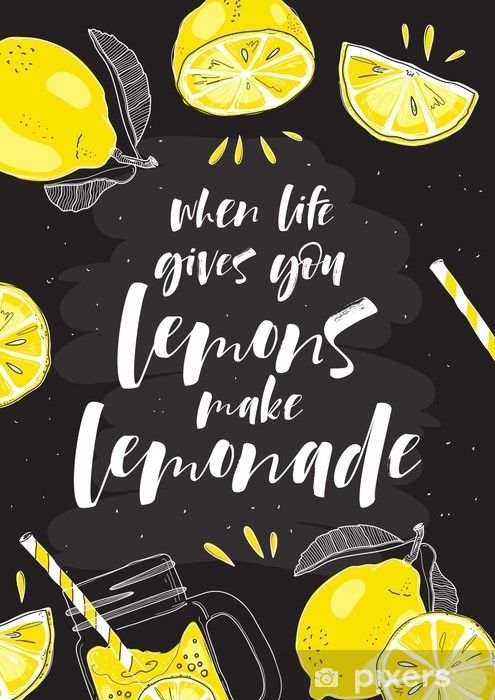 Fototapeta Rucne Kresleny Typograficky Plakat Citron S Napisem