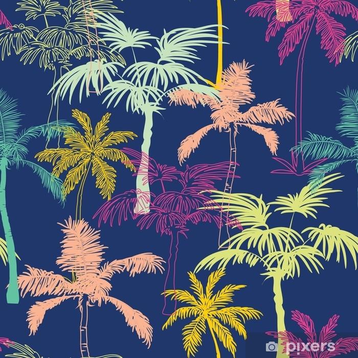 Fototapeta winylowa Wektor ciemny niebieski kolorowe geometryczne palmy powtórzyć bezszwowe tło wzór. może być stosowany do tkanin, tapet, artykułów papierniczych, opakowań. - Rośliny i kwiaty