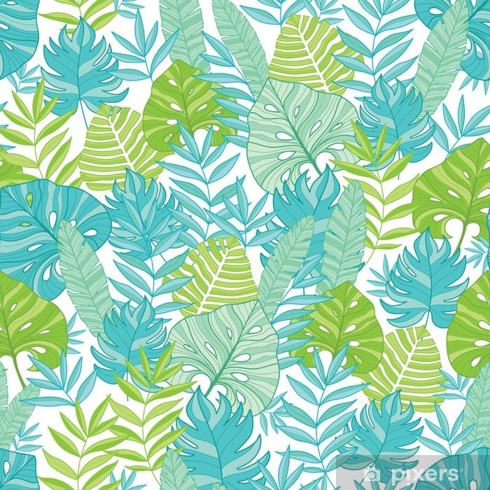 Fotomural Vector Azul Verde Tropical Hojas Verano Hawaiano