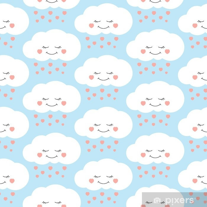 Cute baby cloud pattern vector seamless  Children print with clouds and  hearts rain on lilac background  Design for kids birthday card, wallpaper  or
